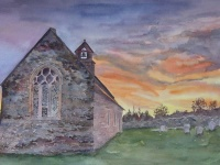 Stone Church at Sunset