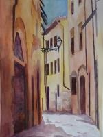 Sunlit Street in Europe