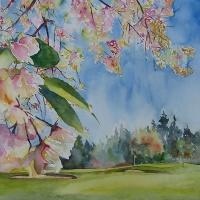 Cherry Blossoms on the 17th Hole at Beach Grove Golf Club