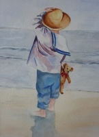 Child on Windy Beach